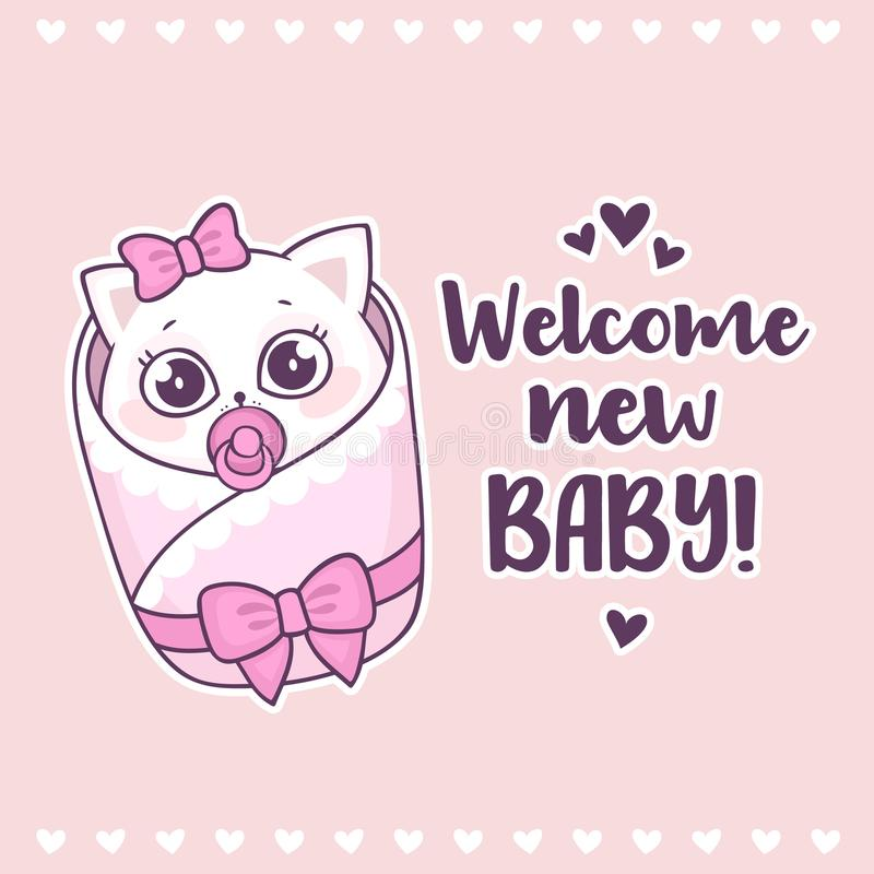 Colorful baby shower with cute girl cat and inscription Welcome new baby stock illustration