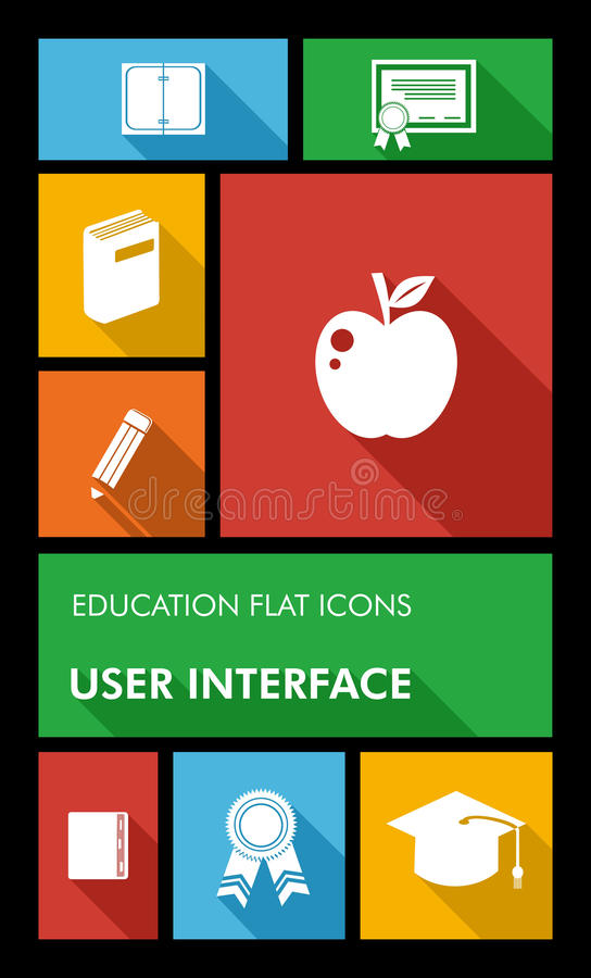 Colorful back to school user interface mobile app. Back to school mobile applications graphic user interface flat icons set education concept. Vector layered for royalty free illustration