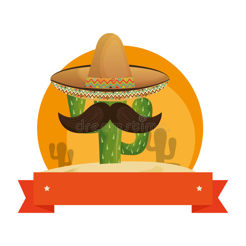 Colorful background with animated sketch cactus with mexican hat and ribbon royalty free illustration