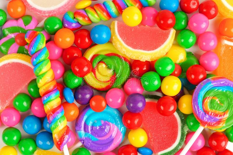 Colorful background of assorted candies royalty free stock images