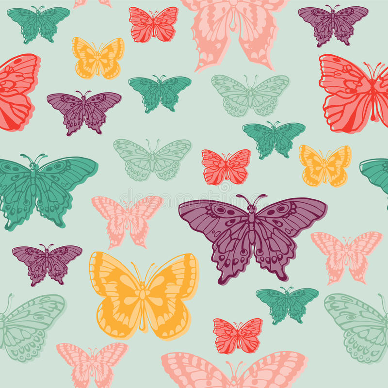 Colorful background with butterflies. For scrapbooking or design in vector illustration