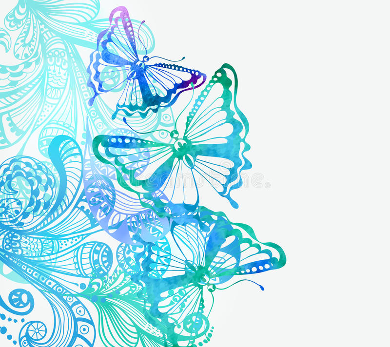 Colorful background with butterfly and floral ornament vector illustration