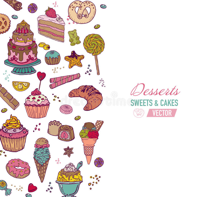 Colorful Background with Cakes and Desserts. Colorful Background - with Cakes, Sweets and Desserts - hand drawn in vector stock illustration