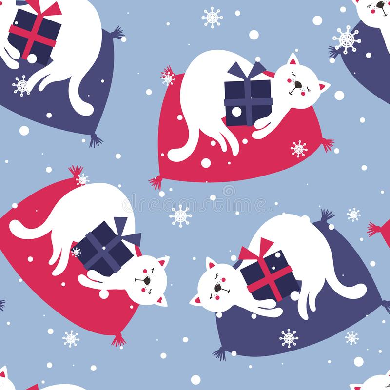 Colorful seamless pattern with cats, gifts, snow. Decorative cute background with animals, presents. Merry christmas stock illustration
