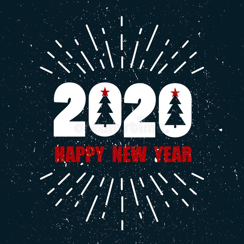 Colorful background with 2020, christmas fir trees, firework, english text. Decorative backdrop. Happy New Year, greeting card stock illustration