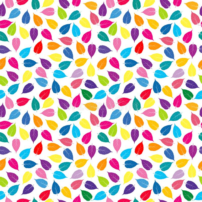 Colorful background with colored leaves, seamless pattern royalty free illustration