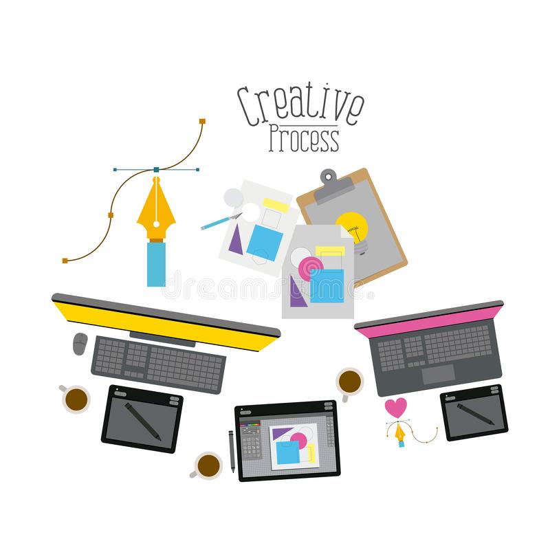Colorful background with creative process with tech elements to design royalty free illustration