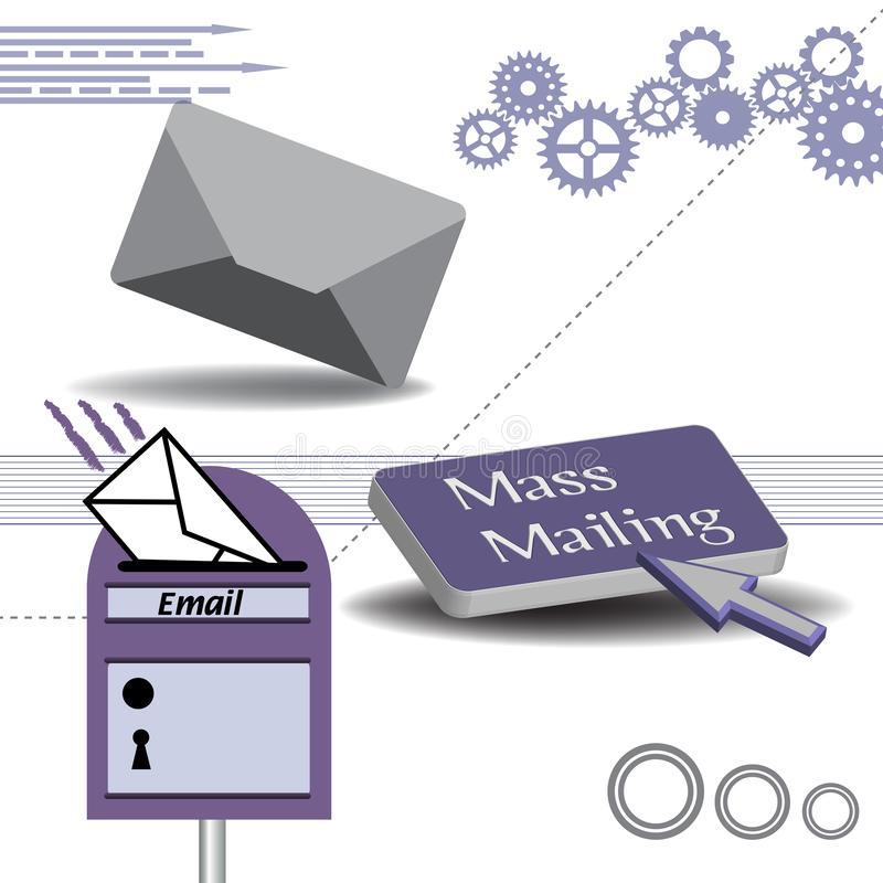 Mass mailing concept. Colorful background with grey envelope, mailbox and a button with the text mass mailing. Mass mailing concept stock illustration