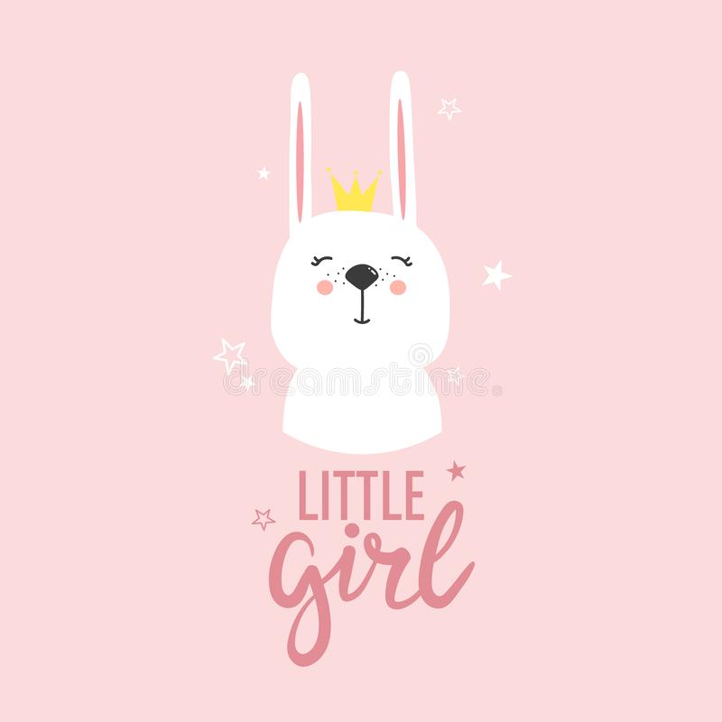 Colorful background with happy bunny and english text. Little girl. Hand drawn illustration, happy bunny and english text. Colorful background vector. Poster royalty free illustration