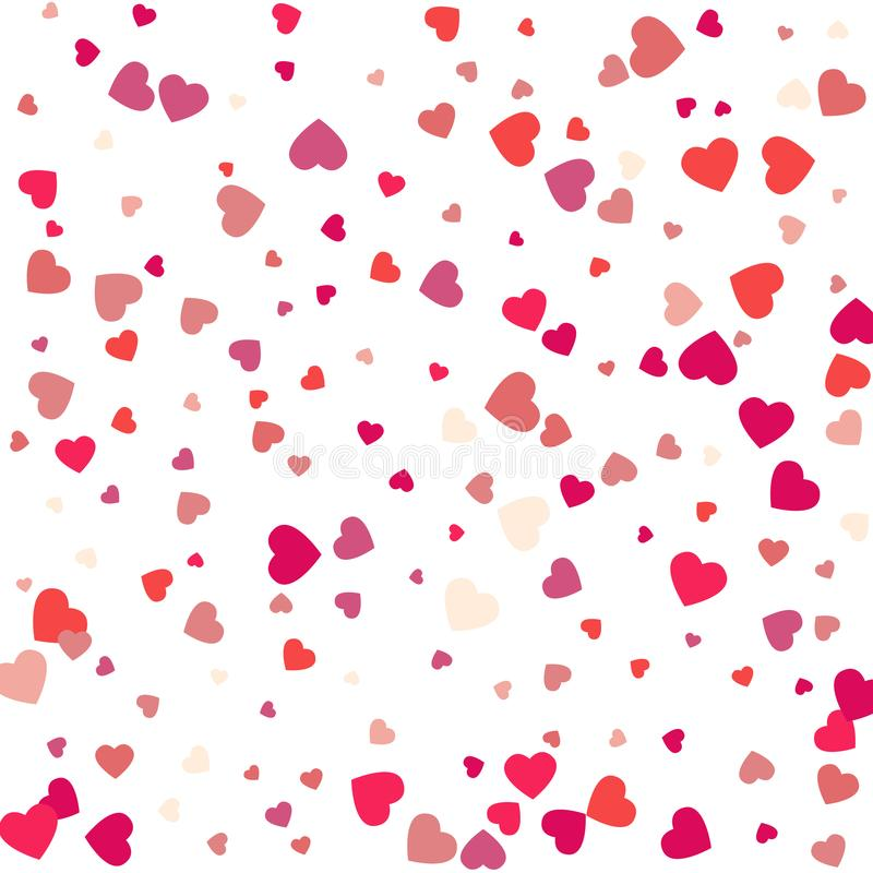 Colorful Background with Heart Confetti. Valentines day greeting. Card or wedding invitation background party design. Cartoon flat style vector illustration vector illustration