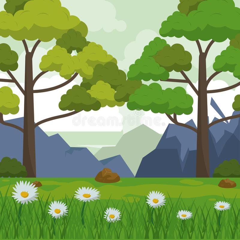 Colorful background with landscape of mountains trees and field with daisy flowers royalty free illustration