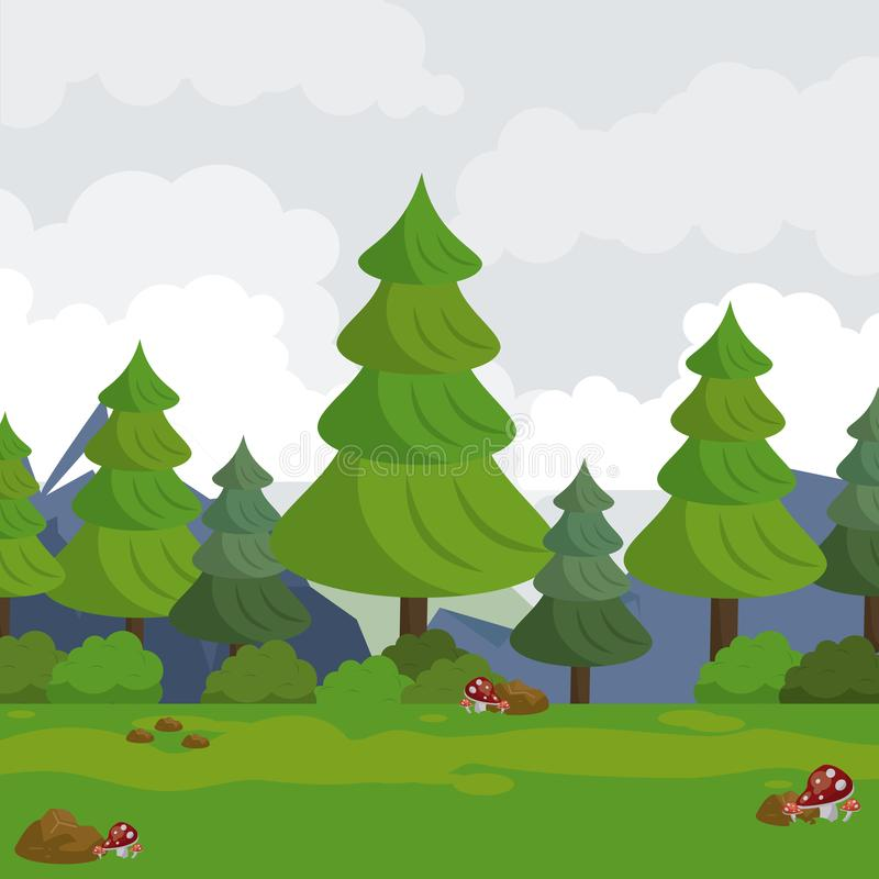 Colorful background with landscape of mountains trees and meadow vector illustration