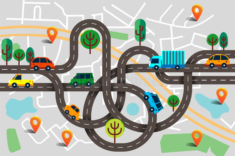 Colorful background with landscape, road and city map. Top view vector illustration