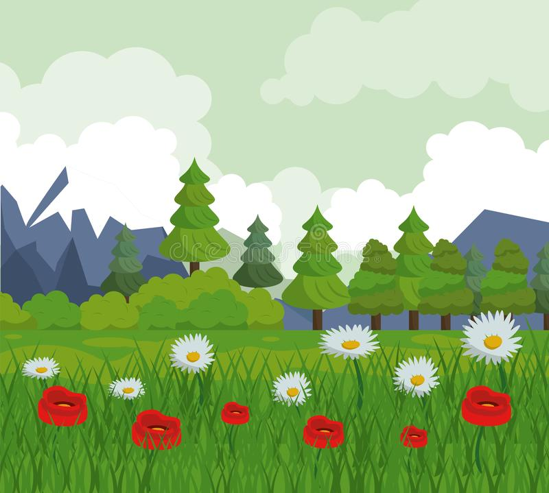 Colorful background with landscape of trees and flower field stock illustration