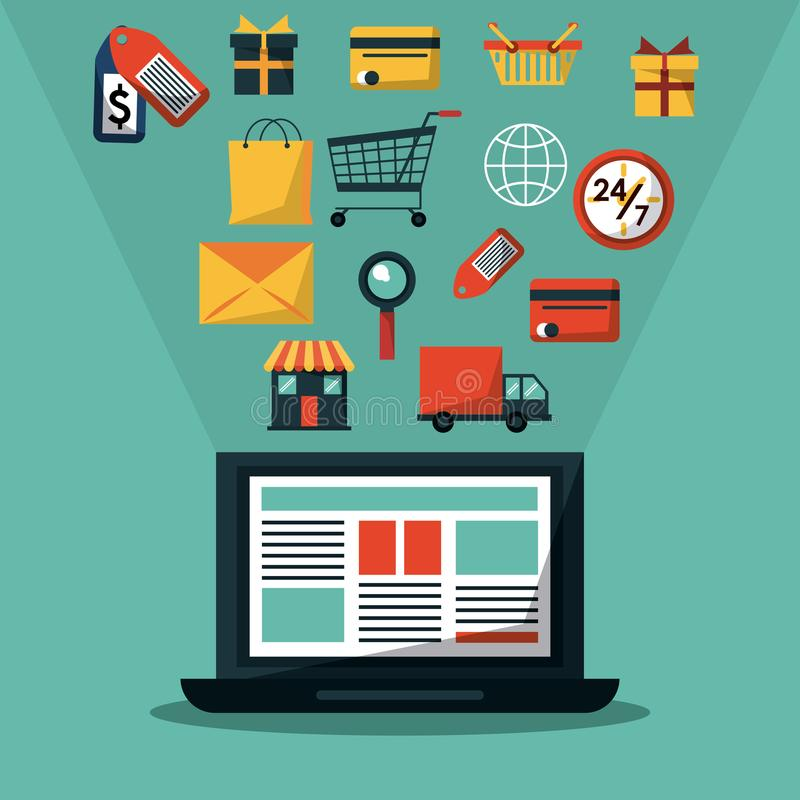 Colorful background with laptop computer and common online shopping icons stock illustration