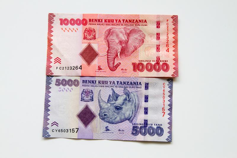 Tanzanian Shillings over white background. Colorful background of mixed banknotes of Tanzanian Shilling with endangered wildlife species on the back stock photography