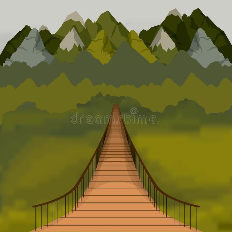 Free Colorful Background Outside Suspension Bridge And Forest Scenary Royalty Free Stock Images - 142651479