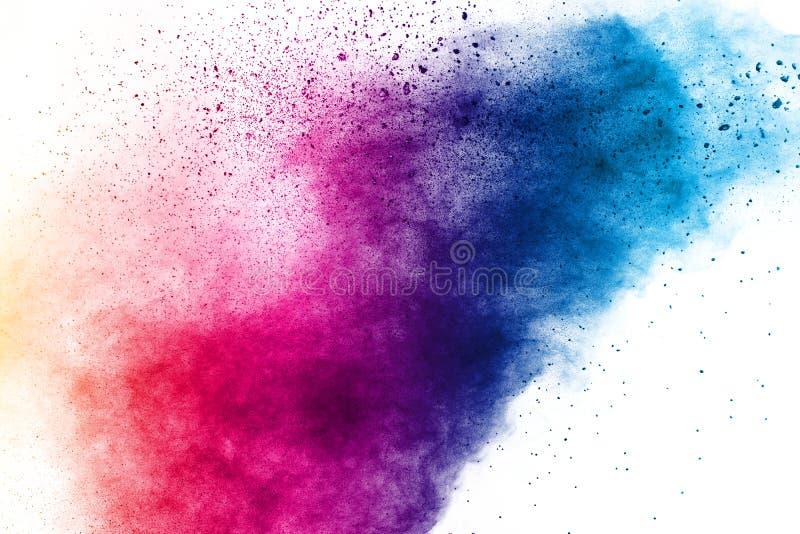 Colorful background of pastel powder explosion.Color dust splash on white background.  stock image