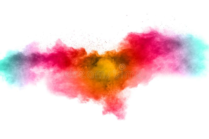 Colorful background of pastel powder explosion. Rainbow color dust splash on white background stock photography