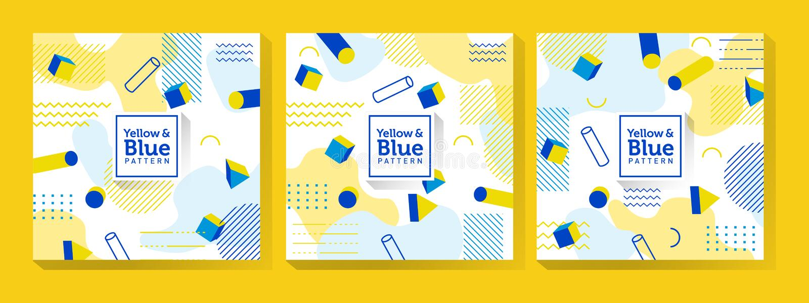 Blue and Yellow Memphis Art royalty free illustration