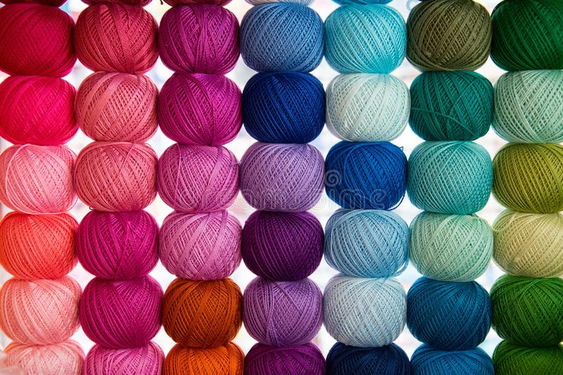 Bright background image of yarns and threads royalty free stock images
