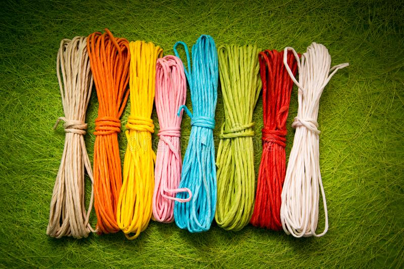 Bright background image of yarns and threads royalty free stock image