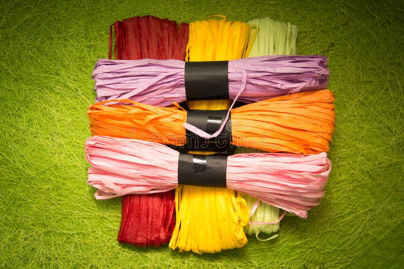 Bright background image of yarns and threads stock photo