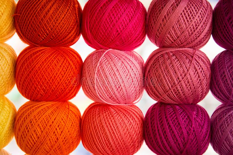 Bright background image of yarns and threads stock images