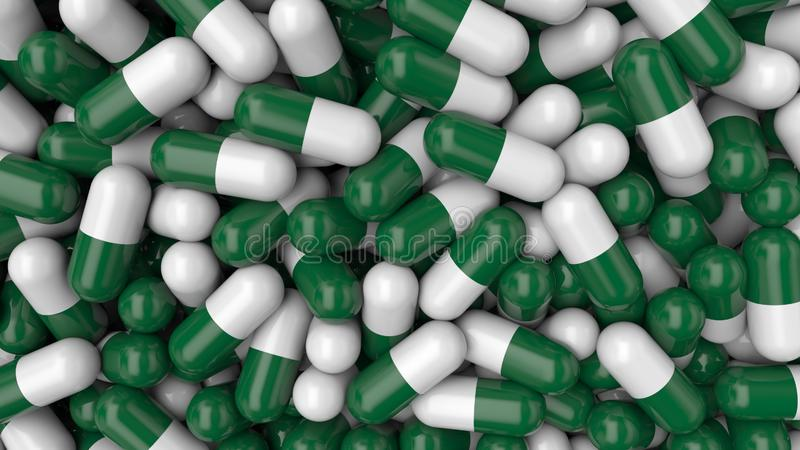 Colorful background pills. White-green medical pills stock illustration