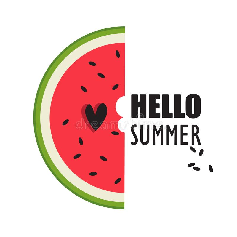 Colorful background with ripe watermelon and english text. Hello summer stock illustration