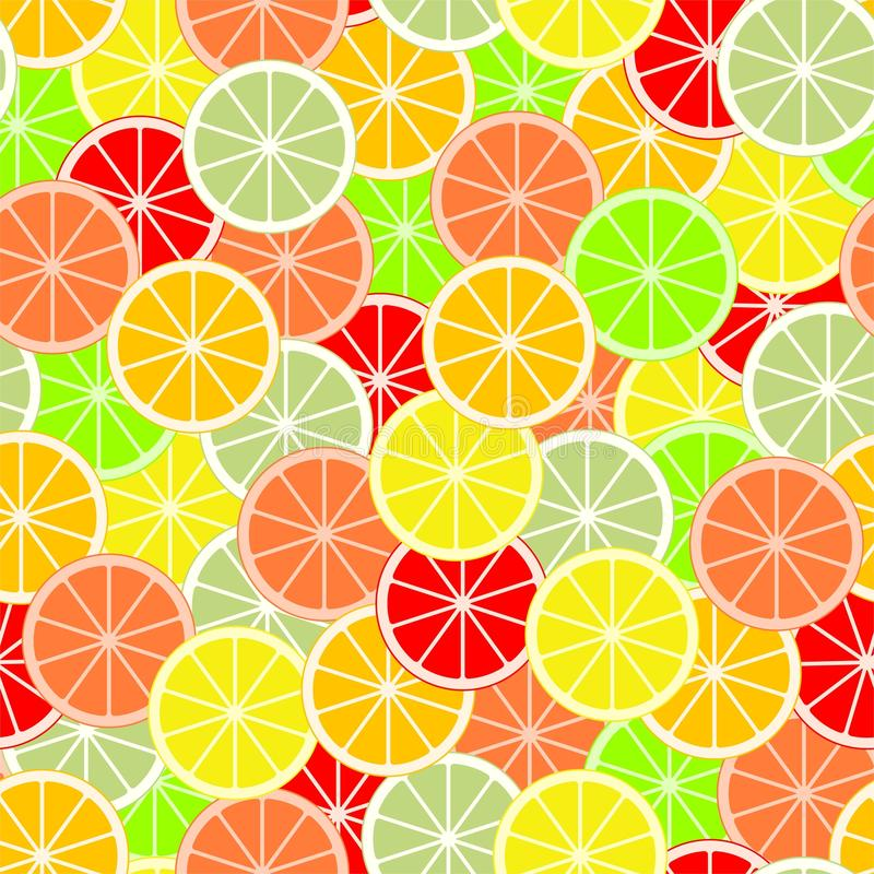 Colorful background of slices and slices of citrus fruits of orange, lime, grapefruit, tangerine, lemon and pomelo. Backdrop from royalty free illustration