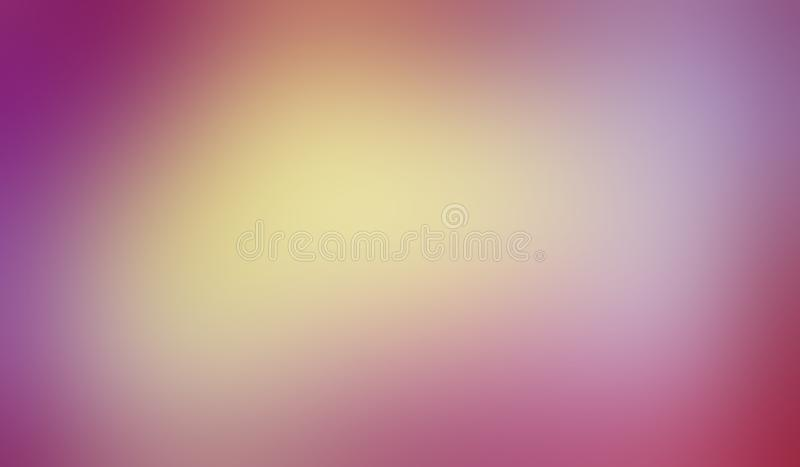 Colorful background with smooth blurred texture in cool soft blended colors of pink purple yellow gold and blue in vibrant pastel. Layout with shiny center spot vector illustration