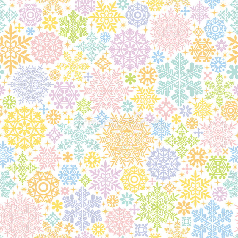 Colorful background with snow crystals and doilies. vector illustration