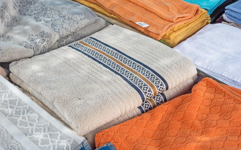 Background of towels on market stall royalty free stock photos