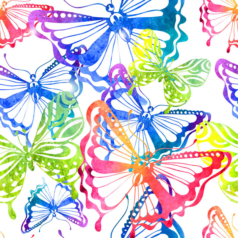 Colorful background with watercolor butterfly, seamless pattern stock illustration