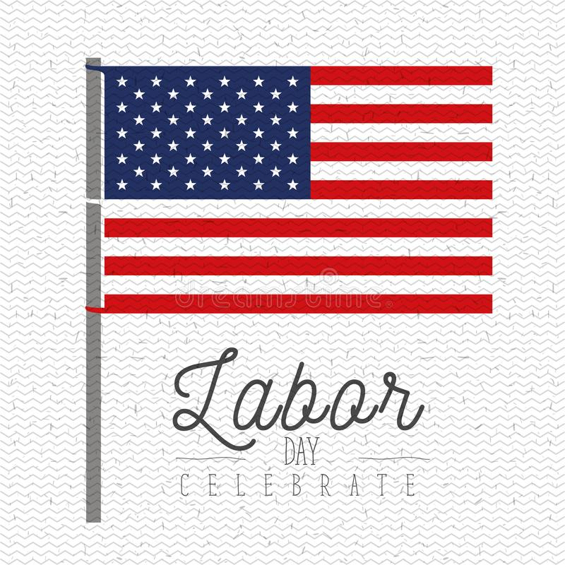 Free Colorful Background With Zigzag Lines Of Celebrate Labor Day With American Flag In Pole Stock Photo - 112604310