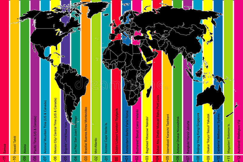 Colorful background with world map and time zones stock vector download colorful background with world map and time zones stock vector illustration of meridian gumiabroncs Choice Image
