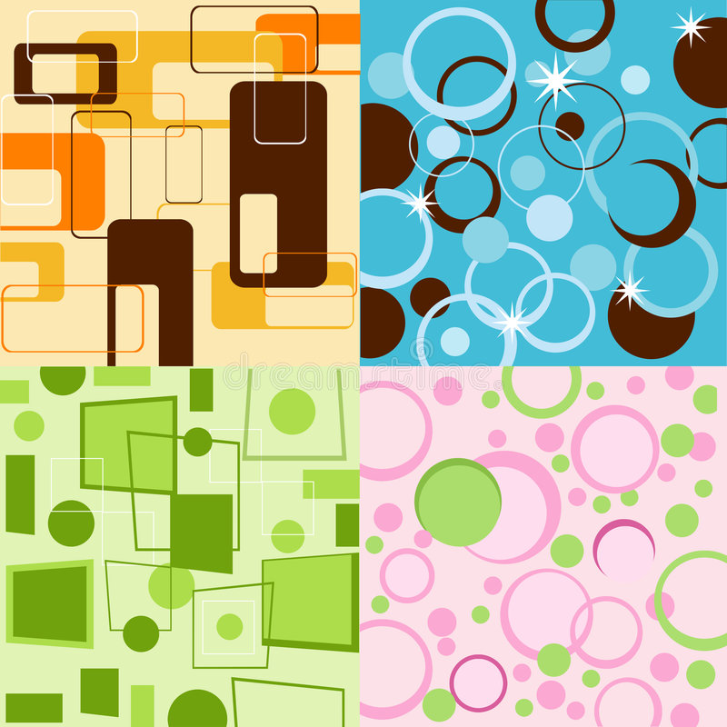 Colorful backgrounds. Design, background, backdrops, colors, circles, squares, colorful royalty free illustration