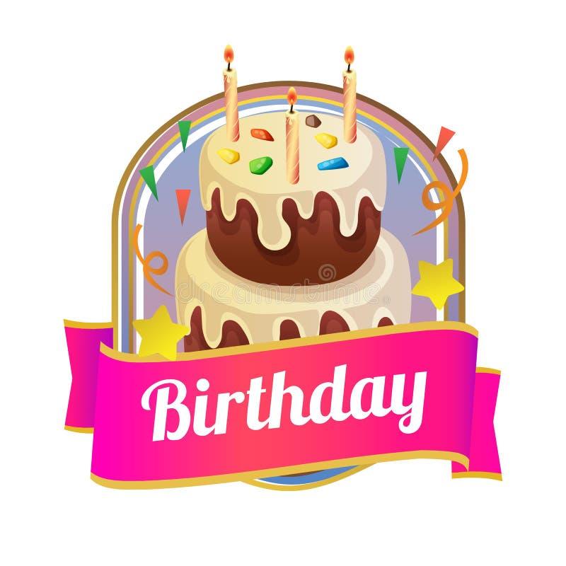 Badge of delicious birthday tower tart stock illustration