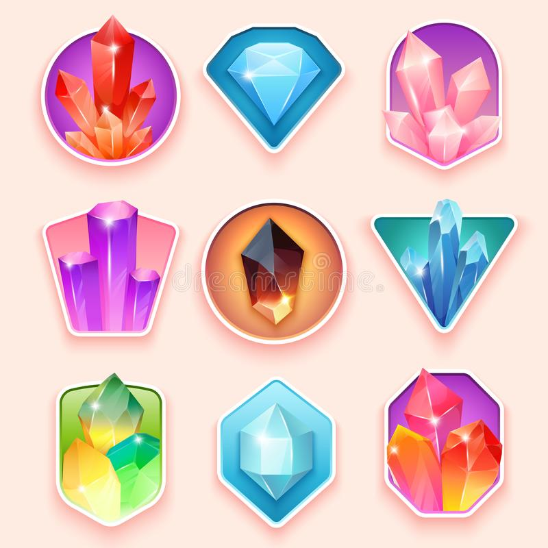 Colorful badges with crystals. Crystalline gemstone. Magic semi precious stones collection. Set of jewel or mineral royalty free illustration