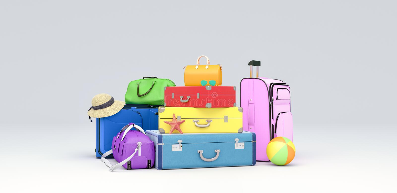 Colorful baggage, travel concept on white background 3D render. 3D illustration royalty free stock photos