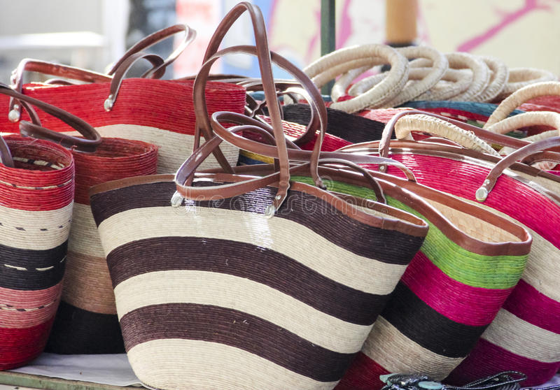 Colorful bags at a Mexican hand-craft market. royalty free stock photography