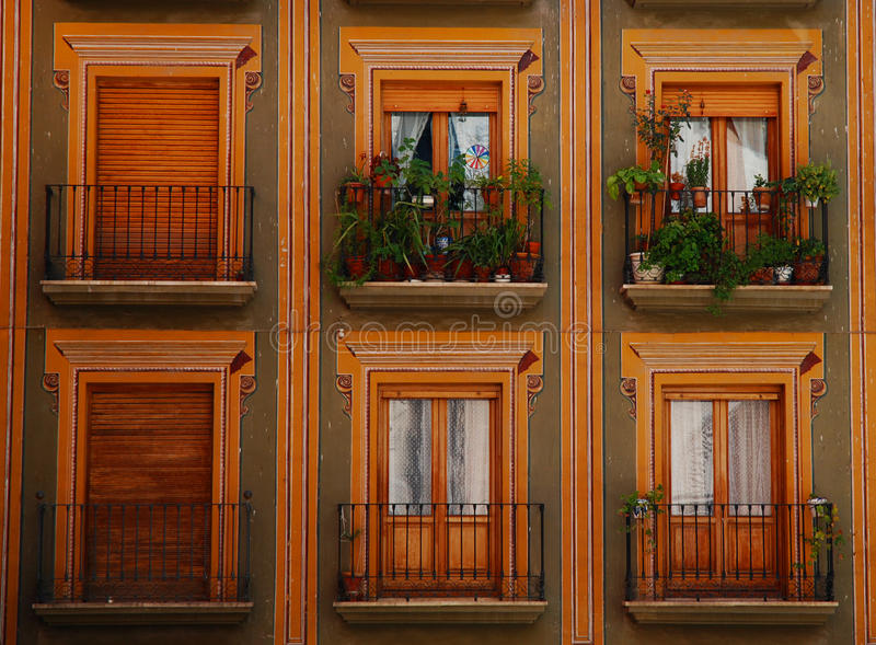 Colorful balconies and windows, Granada royalty free stock photos