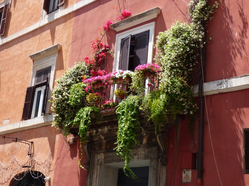 Colorful balcony with flowers in Rome royalty free stock images