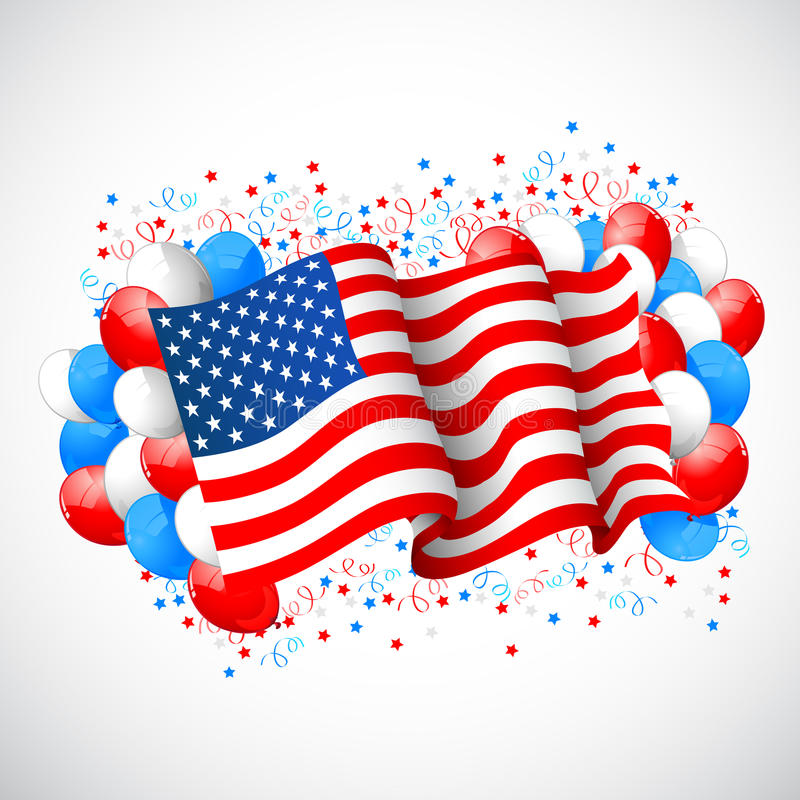 Colorful Balloon with American flag royalty free illustration