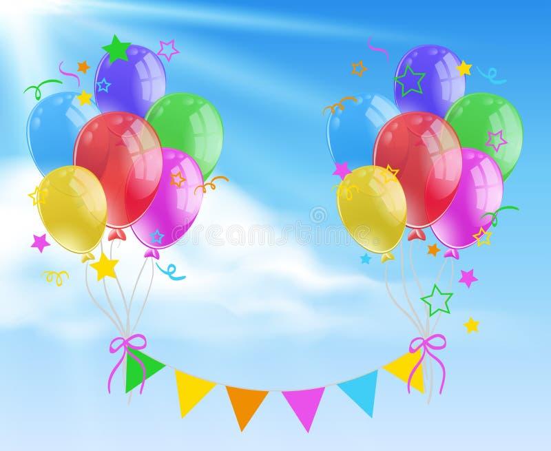 Colorful balloon background scene stock illustration