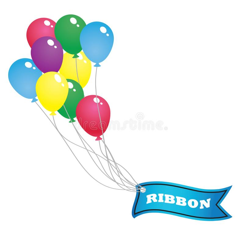 Colorful balloon and blue ribbon banner. Float in the air,,Vector illustration. Place for your text. Ribbons for business and design. Design elements stock illustration