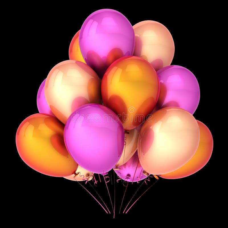 Colorful balloon bunch purple orange colors royalty free illustration