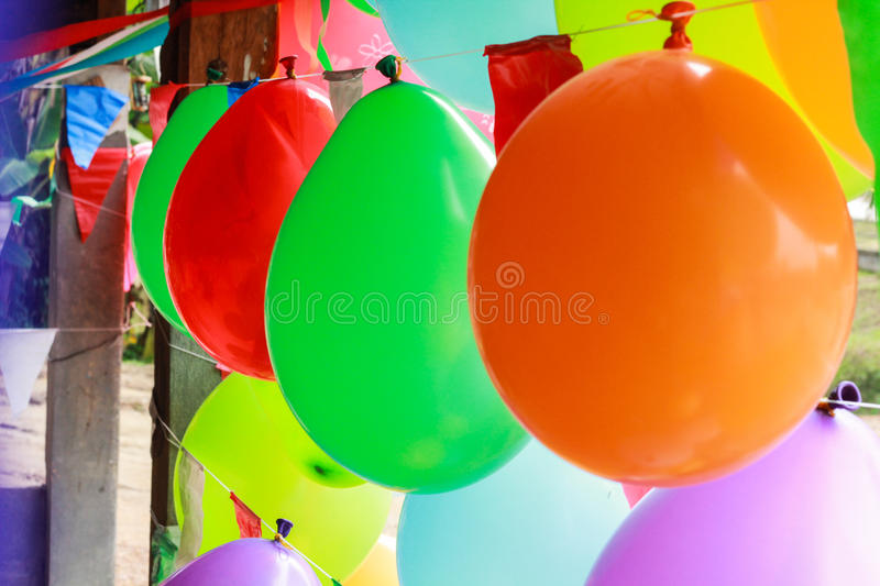 Colorful balloon decoration for celebrating special occasion as Xmas, New year, Valentine, Ester, Thanksgiving and Birthday Party royalty free stock photo