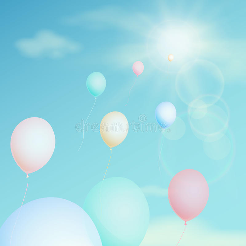 Colorful balloon fly in the sky. Vector vintage filter. Happy Sunny day, a holiday. Colorful balloon fly in the sky. Vector vintage filter royalty free illustration